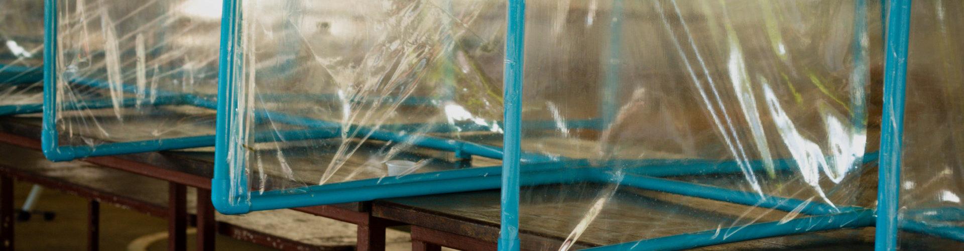 plastic separators on table